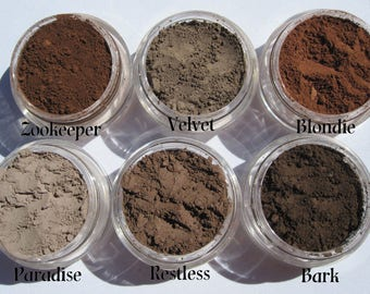 6 Matte Browns/ Loose Eyeliner/ Eyebrow/ Cruelty-Free/ Vegan /Mineral Makeup Gift Set/ Powder Mineral Eyeshadows