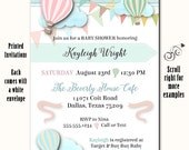 Printed Party Invitations, Pastel Hot Air Balloons, Invite with Envelope, Bridal Shower, Baby Shower, Birthday Party, Engagement Party