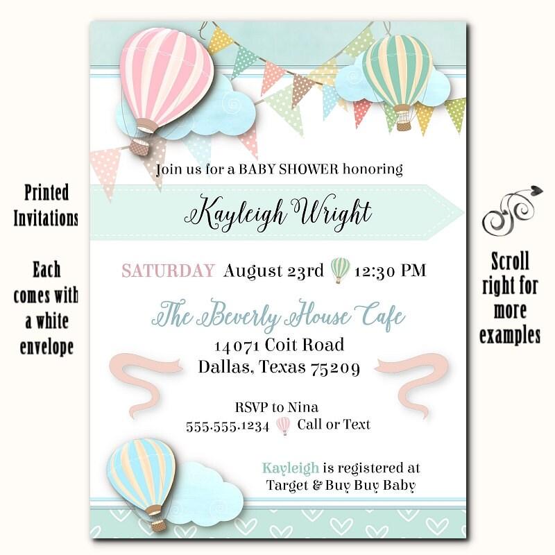Printed Party Invitations Pastel Hot Air Balloons Invite – Printed Party Invitations