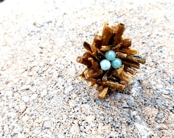 birds nest ring//birds nest jewelry//statement ring//bamboo coral//amazonite//birds//ring//jewelry//rings//gold ring//coral