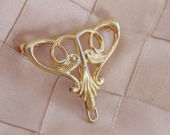 Victorian Gold over Sterling Watch Pin Gold Locket Brooch Victorian Brooch Victorian Pin