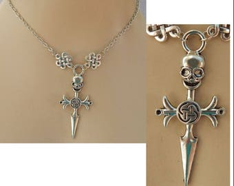 Silver Skull Dagger Pendant Necklace Jewelry Handmade NEW Adjustable Fashion Accessories Charm