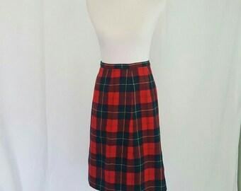 Pendleton Plaid Wool Twin Peaks Style Pin Up Midi Skirt S Waist 28