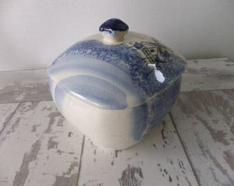Blue Holland Windmill Theme Covered Bowl Dish with Lid Delft Style Japan Sailboats Scene