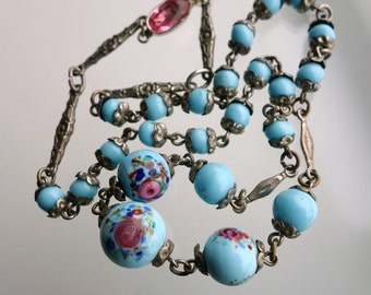 Antique Czech Floral Rose Robins Egg Blue Glass Bead Necklace