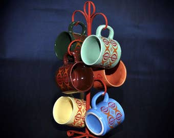 1970s 6 Vintage Mugs Mod Colors with Ogee Design Rainbow Colors and Orange Metal Mug Cup Holder  Multi Color Design
