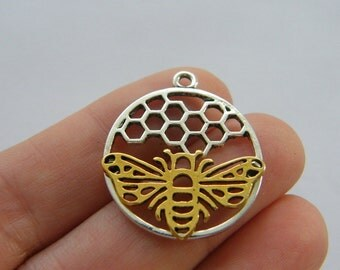 BULK 20 Bee and honeycomb  charms silver and gold tone A631
