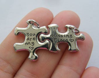 2 Puzzle piece set charms silver tone P430