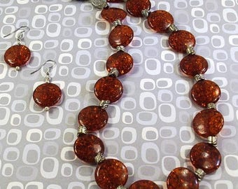 On Sale Brown  Amber Disc and Silver Necklace and Earring Set
