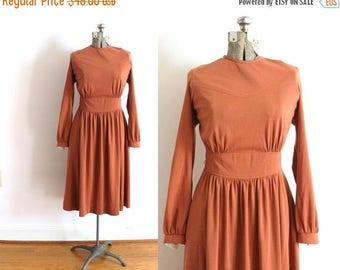 ON SALE 70s Dress / Clay Burnt Orange 1970s 1940s Style Dress