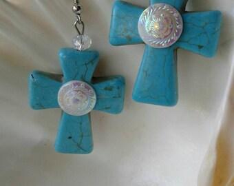 Large Turquoise Cross Earrings