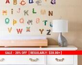 Holiday Sale - Alphabet Wall Stickers, Alphabet Animals - Peel and Stick Wall Sticker