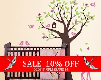 Sale - Kids Wall Decals - Tree with Birds and Fawn Decal Set - Nursery Vinyl Wall Decal Art