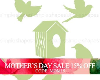 Mothers Day Sale - Additional Set of Birds and Birdhouse for Shelving Tree Wall Decal