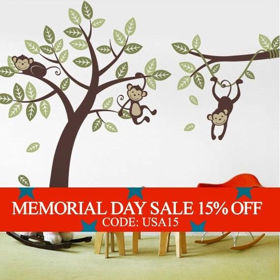 Memorial Day Sale - 3 Monkey Tree and Branch Vine- Kid Wall Decals, Baby Nursery Vinyl Wall Decals