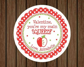 Valentine, You're My Main Squeeze Valentine's Day Tag, Applesauce Valentine Tag