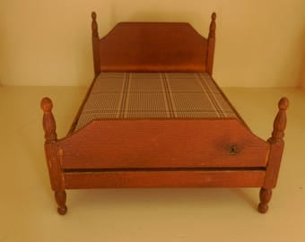 Great Wood Vintage Doll House Bed
