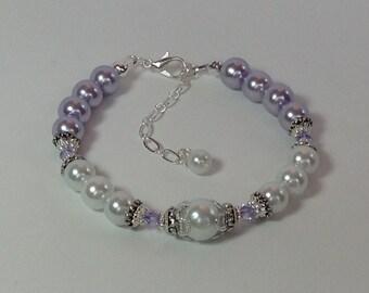 Lavender  and White Pearl Bridal Bridesmaid Bracelet