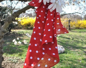 Square small neck shawl/ Red polka dot shawl/ Polka dot/Neckerchief/ Happy spring/Hand made in USA/ rusteam