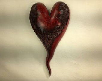 Special wooden heart red romantic Anniversary gift wood carving