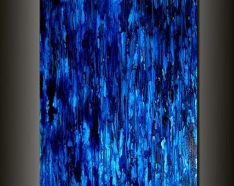 Modern Painting Original Large Blue Abstract Painting Modern Abstract Art Painting Ready to Hang 48x36 by Henry Parsinia