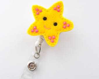 Starfish Yellow Retractable Felt Badge Holder - Nurse Gift - RN Badge - Nurse Badge Holder - Nursing Badge Clip - NP - Hospitalist ID - Gift
