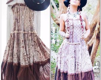 Gypsy soul retro dress, 70s boho hippie festival dress, Bohemian gypsy Stevie Nicks Style Dress, Romantic dresses cocoa, True rebel clothing