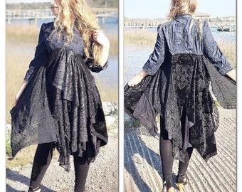 L Stevie nicks style kimono duster, gypsy soul jacket duster, boho kimono, hippie ragdoll duster, Romantic Kimono vest, True rebel clothing