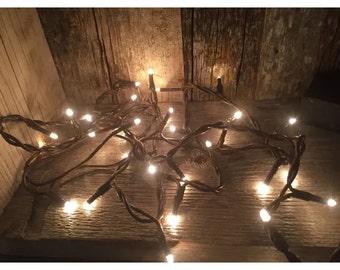 Teeny TINY STRING 35 RICE LiGHTS -adorable primitve lights--7.2'-brown