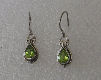Vintage Sterling Peridot Earrings