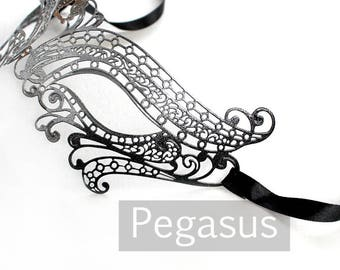 Silver and Black elven court Venetian Filigree Scroll work Metal  Masquerade Mask (1 Piece, 5 color options) Aluminum Laser Cut Mask Made