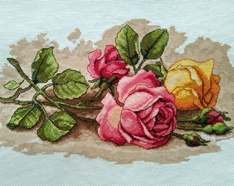New Finished Completed Cross Stitch - Rose - F1