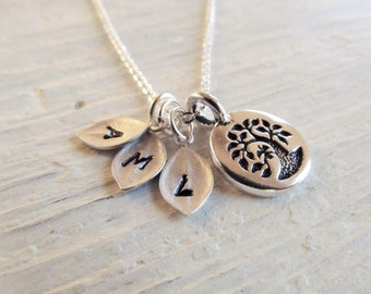Gift for Mother, Silver Family Tree with Initial, Necklace for Mom, Personalized Jewelry for Her, Tree of Life, Gift for Grandmother,