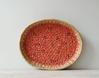 Vintage Basket Tray, Pink Basket, Straw Basket