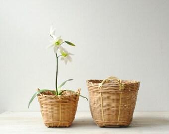 Vintage Bamboo Basket Pair, Plant Baskets