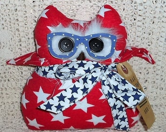 O' SaY CaN YoU See American/Patriotic OwL Doll/Pillow/Hang Up Primitive Owl Handmade with O' Say Can You See Tag Hafair