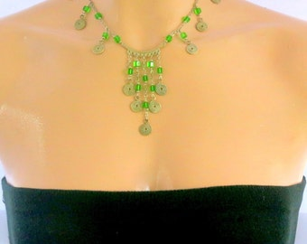 Green and Silver, Glass Beads, Cascade Necklace