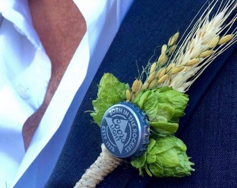 Boutonniere, hops with bottle cap, wheat and wild rice