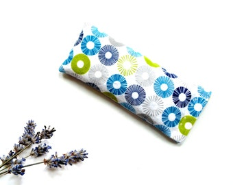 Aromatherapy eye pillow, organic lavender eye mask for yoga meditation, stress relief, gift for her under 20, soft flannel, turquoise lime