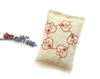 Sachet bag, embroidered red hearts, linen sachet, gift under 15, organic lavender rose mix,