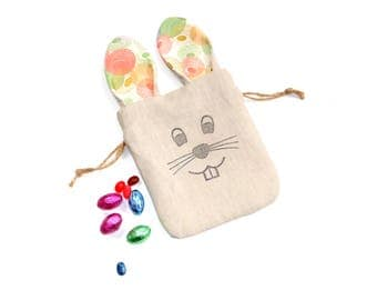 Easter egg hunt bag, linen fabric gift bag, Easter bunny bag, drawstring pouch, Easter basket filler, Easter gift under 10