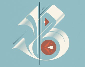 """Letter B Print - 12"""" x 12"""" on French Pop-Tone Whip Cream 65# Cover"""