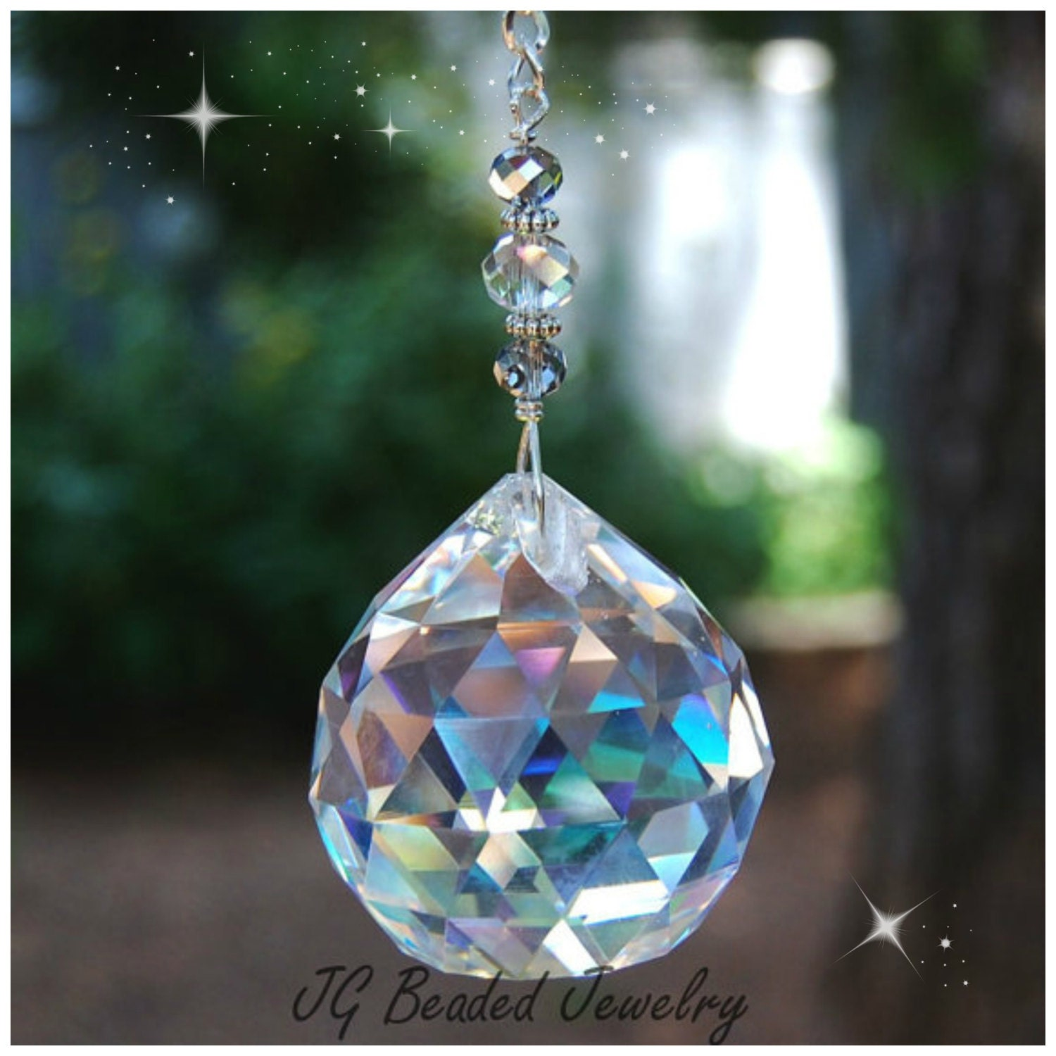 Large Prism Crystal Suncatcher Hanging Crystal Rainbow Maker