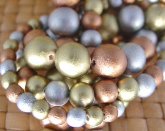 15 inch strand 6, 8, or 12 mm Round Wood Beads, Metallic Colors - Gold, Silver, Copper
