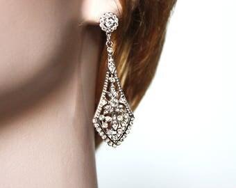Wedding Cubic Zirconia earrings CZ Bridal dangle earrings Jewelry Rhodium plated Crystal Wedding Earrings necktie