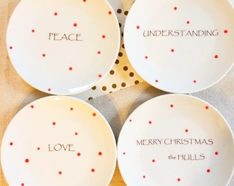 Peace, Love, Understanding, Merry Christmas Dessert Plates, Personalied, Polka Dot, Red, Dishes, Dessert Plates (Set of 4)