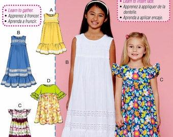 Girls' Learn to Sew Dress Pattern, Tween Girls' Easy Dress Pattern, Little Girls' Dress Pattern, McCall's Sewing Pattern 7558