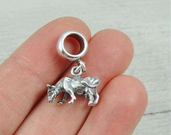 Cow Dangle Bead Charm - Sterling Cow Charm for European Bracelet