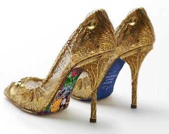 Custom hand painted Beauty and the Beast Stained Glass heels