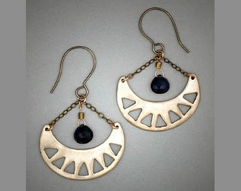 Bronze Metal Clay Crescent Earrings Dangle and Drop Kyanite  #105